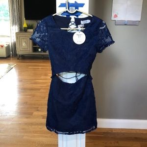 Xenia Navy laced back cocktail dress